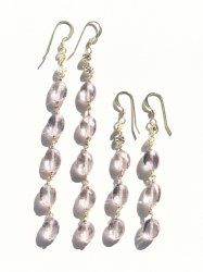 Pink Topaz Long Pierce Earring