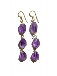 AMETHYST LONG CLEAR PIERCE EARRING