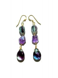 GRADATION FLUORITE AMETHYST CLEAR PIERCE EARRING