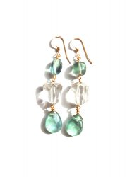 GREEN FLUORITE CLEAR LONG PIERCE EARRING