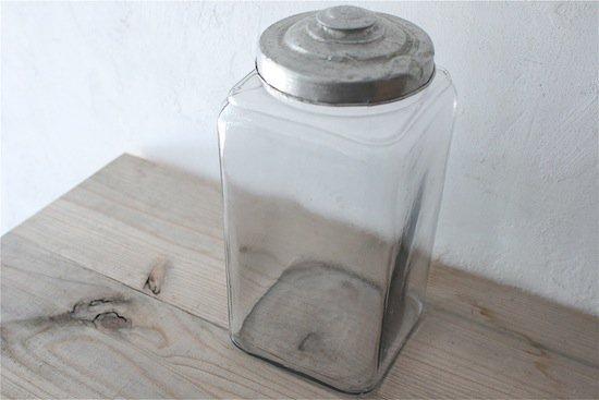 菓子ガラスビン/フタ付/ガラス瓶/昭和レトロ【古道具】