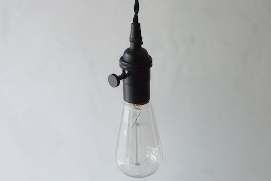 ソケットランプ《丸型スイッチ付き》/黒/ビンテージスタイル/E-26