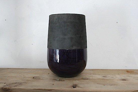 DOMANI【ドマーニ】/花器/パープル×grey(直径15,高さ24cm)/ベルギー