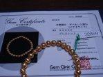 ゴールド ギベオン ブレスレット 6ミリ珠 腕回り:S 国内鑑別書付