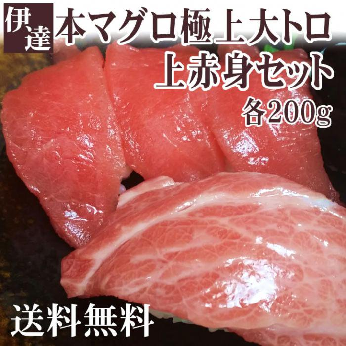 【送料無料】『贈り物に最適』 愛媛県産 伊達本マグロ極上大トロ・上赤身セット(各200g)