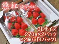 熊本産イチゴ『熊紅(ゆうべに)』3Lサイズ 2箱/1パック(6〜9玉)270g以上 計4パック(1箱2パック入り)