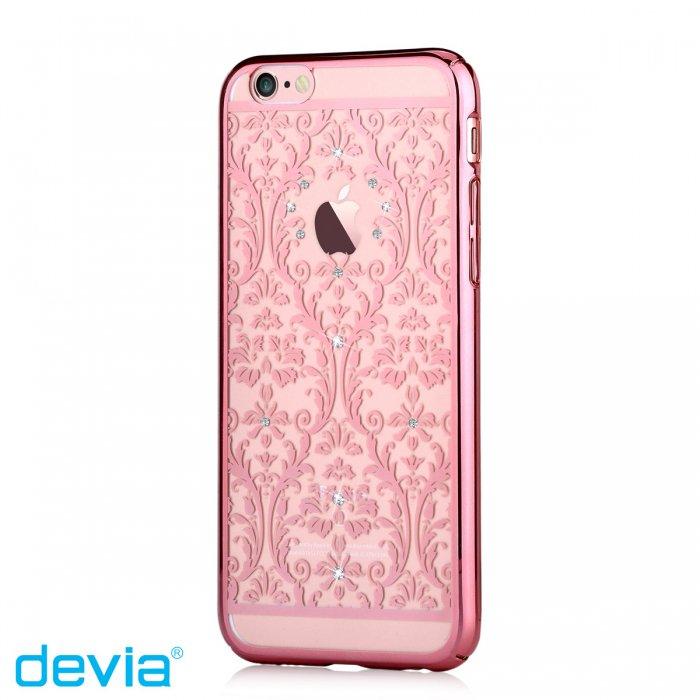 iPhone6/6s用 ゴージャスなデザイン スワロフスキーとバロック柄が豪華/ Devia Baroque/ ローズゴールド