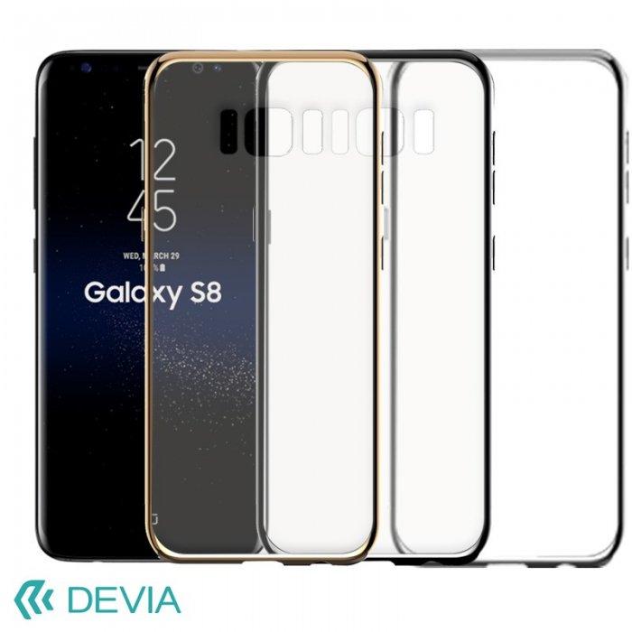 GalaxyS8 薄型ハードケースに真空メッキハイライトのサイドアクセントケース/ Devia Glimmer