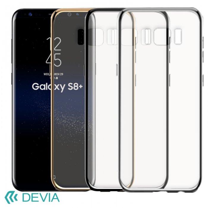 GalaxyS8 Plus 薄型ハードケースに真空メッキハイライトのサイドアクセントケース/ Devia Glimmer