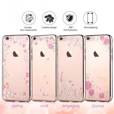 iPhone6 Plus/6s Plus用 スワロフスキーがアクセントの綺麗なデザイン / Devia Crystal joyous/ ローズゴールド