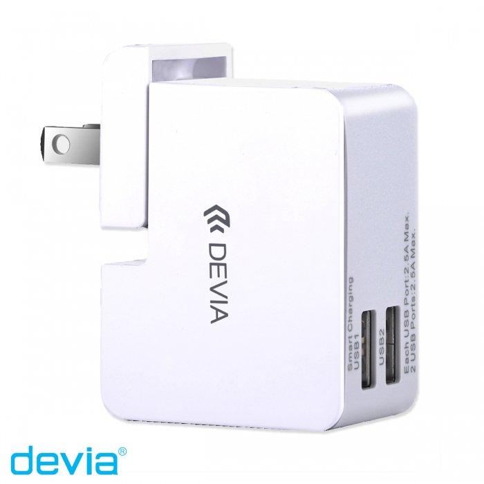 USBユニバーサル充電機 様々な国のコンセントに対応できるコンパクト2ポートUSB /Devia TraveladapterKit/ホワ…