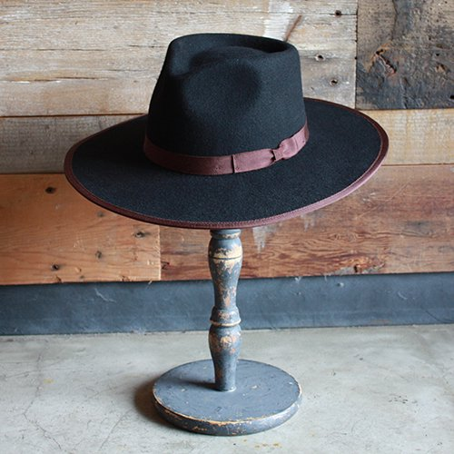 BRIXTON #HOMESTEAD FEDORA -Black/Brown