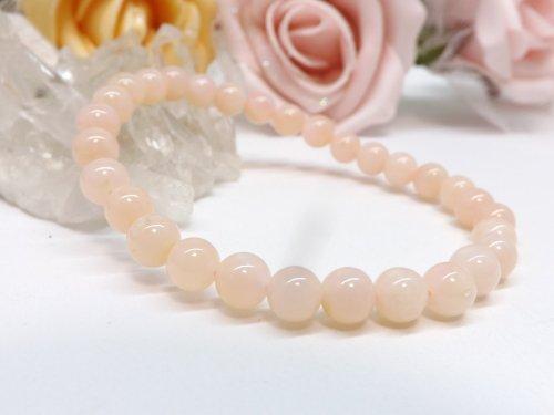 高品質 ピンクオパールブレスレット 6mm玉ブレス pn-0092