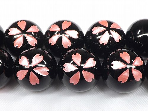 ピンク オニキス桜彫り  一粒売り サイズ 8mm/10mm/12mm