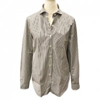 GUY ROVER 【ギ・ローバー】 『CAMICIA LAV』 コットン・ロンドンストライプ・オーバーサイズシャツ (Brown)<img class='new_mark_img2' src='https://img.shop-pro.jp/img/new/icons41.gif' style='border:none;display:inline;margin:0px;padding:0px;width:auto;' />