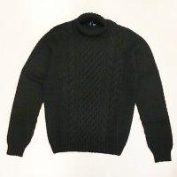 Drumohr 【ドルモア】 アラン編ケーブル・タートルネックプルオーバー (Black)