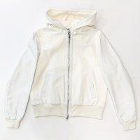 EMMETI 【エンメティ】 『GAIL』 Nappa Silk ラムナッパ×ネオプレーン・ジップアップパーカ (Off White)