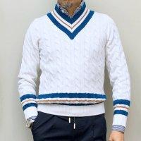 BAFY 【バフィ】 ケーブル・チルデンセーター (White*Blue)