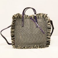 Manila Grace 【マニラ・グレース】 『FELICIA BAG SMALL』ストロー・トートバッグ (Beige×Viola)<img class='new_mark_img2' src='https://img.shop-pro.jp/img/new/icons41.gif' style='border:none;display:inline;margin:0px;padding:0px;width:auto;' />