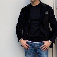 BALZO 【バルゾ】 コーデュロイ・シングルピークドラペル・テーラードジャケット (Black)