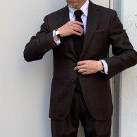 CARUSO 【カルーゾ】 『aida』 ウールヘリンボーン・シングル・スーツ (Dark Brown)