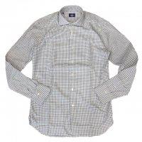 ALESSANDRO GHERARDI 【アレッサンドロ・ゲラルディ】 『WASHED』 カシミア混コットンフランネル・ギンガムチェックシャツ (WH+BL+GR)