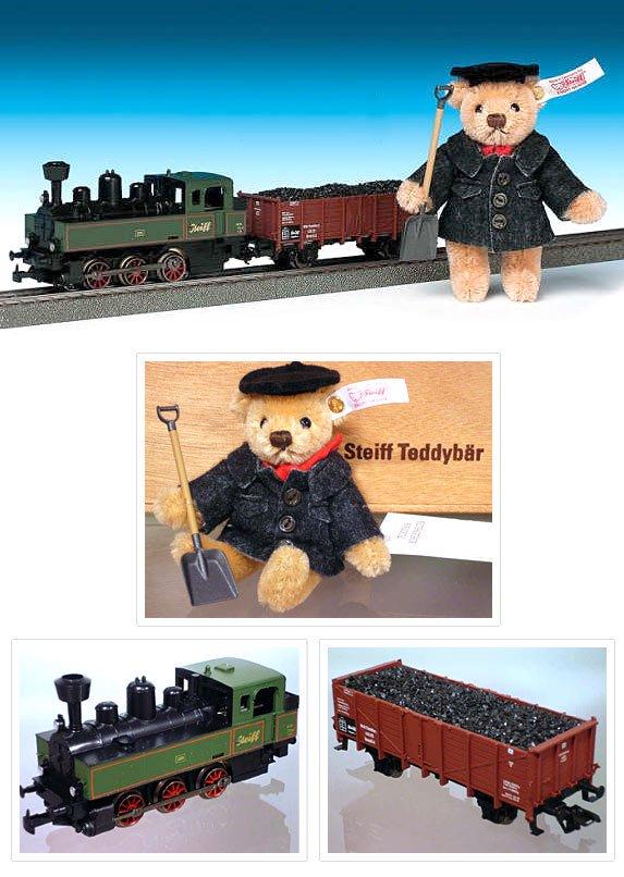 シュタイフ メルクリン HO蒸気機関車とテディベアのセット 10cm 94343 【送料無料】