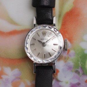 ロレックス14金ホワイトゴールド 革ベルト レディースアンティーク腕時計