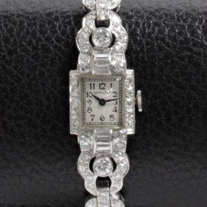 ハミルトン ベルトもプラチナ ゴージャスブレス レディースアンティーク腕時計