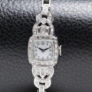 ハミルトン プラチナにダイヤモンド レディースアンティーク腕時計