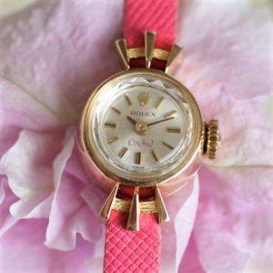 ロレックス レディースアンティーク腕時計 18金 イエローゴールド オーキッド