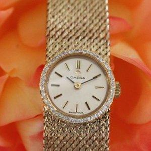 オメガ OMEGA   ダイヤ付きゴールドブレス時計