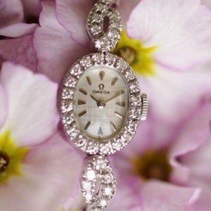 オメガ ダイヤブレスウオッチ ダイヤ巻 マーキスフェイス レディースアンティーク時計
