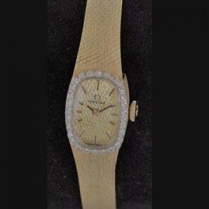 オメガ ベルト一体型 ダイヤ巻 イエローゴールド レディースアンティーク腕時計
