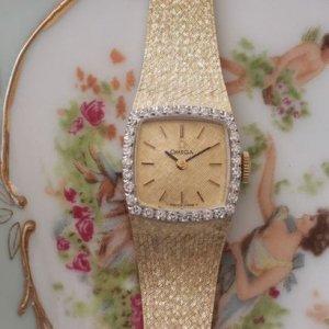 オメガ ダイヤ巻き 14金イエローゴールド ブレス一体型 レディースアンティーク腕時計