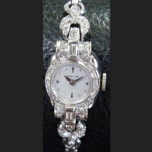 ハミルトン 14金 ダイヤモンド レディースアンティーク腕時計