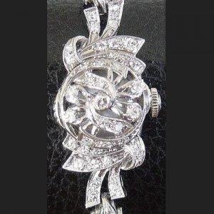 ハミルトン カバーウォッチ ダイヤモンド レディースアンティーク腕時計