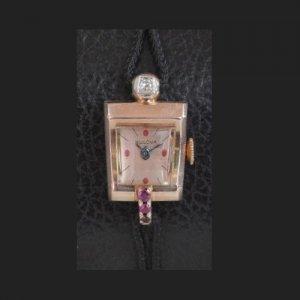 ブローバ ピンクゴールド ダイヤ ルビー レディースアンティーク腕時計