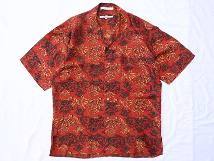 USED / [PERRY ELLIS] PATTERN S/S SHIRT - Red