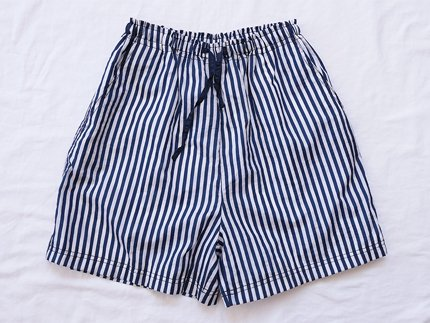 USED / [unknown] STRIPE NYLON SHORTS - Navy/White