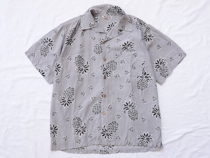 USED / [Hill Clop] PINEAPPLE PATTERN S/S SHIRT - Gray