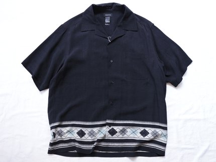 USED / [Claiborne] OPEN COLLAR S/S SHIRT - Black