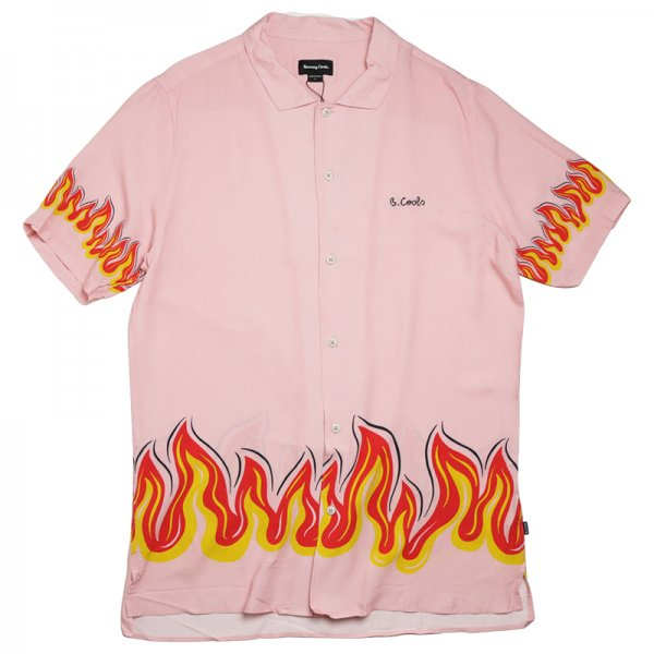 HOLIDAY CAMP-COLLAR SHIRT - Pink Flames