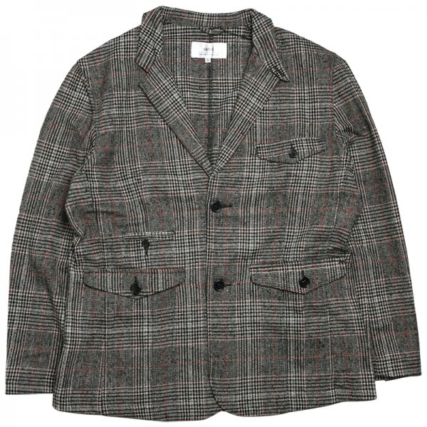 PLAID BLAZER JACKET - Grey/Red Plaid