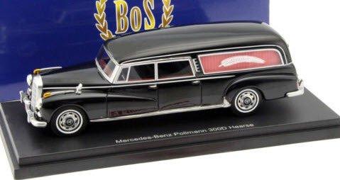 BoS Models BOS43465 1/43 メルセデス 300 d (W189) Pollmann 霊柩車 1960 ブラック