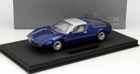 TOPMARQUES TOP025B 1/18 マセラティ ボーラ 1977 ブルー (クリアケース・レザーベース付)
