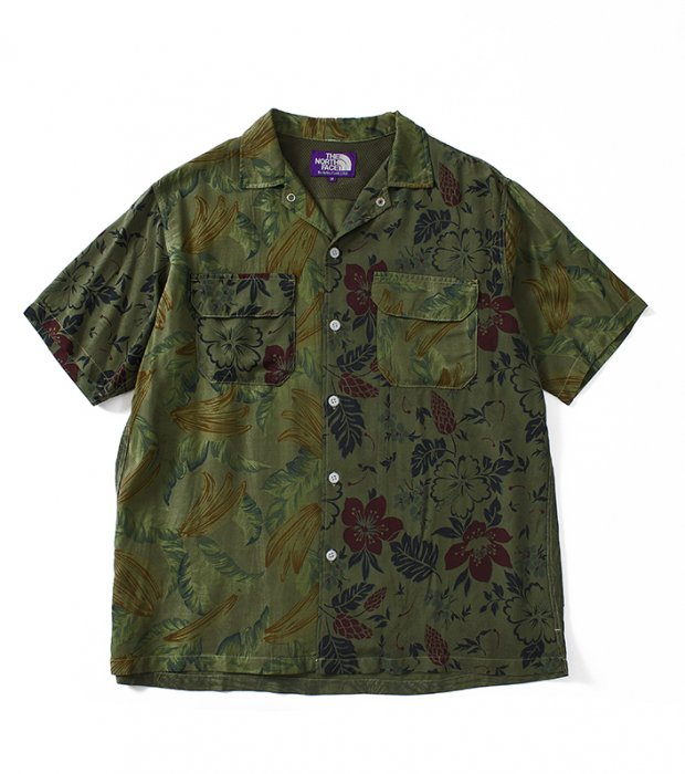 "THE NORTH FACE PURPLE LABEL ""Aloha Print H/S Shirt"" GREEN"