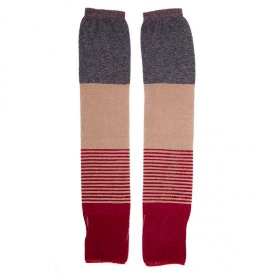 粋更/綿の指とおしアームカバー(赤墨)