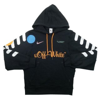 OFF WHITE オフホワイト ×NIKE Football Collection Pullover Hoodie パーカー 黒 Size【M】 【新古品・未使用品】