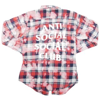 Anti Social Social Club アンチソーシャルソーシャルクラブ 18SS PSY Red Flannel チェック柄ブリーチ長袖シャツ 赤 Size【S】 【新古品・未使用品】